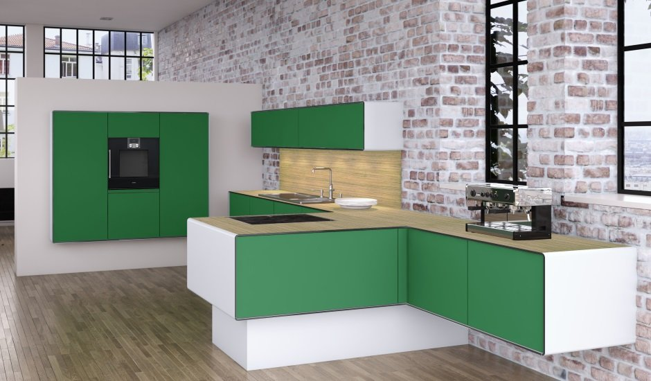 Allmilmo Kitchen Cabinetry in Grass Green and White in a loft