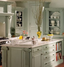 Plain and Fancy Green Cabinets