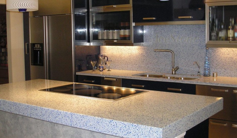 Ice Stone Recycled Counter tops is made from recycled waste glass, Portland Cement and non-toxic pigments in the Brooklyn Navy Yard