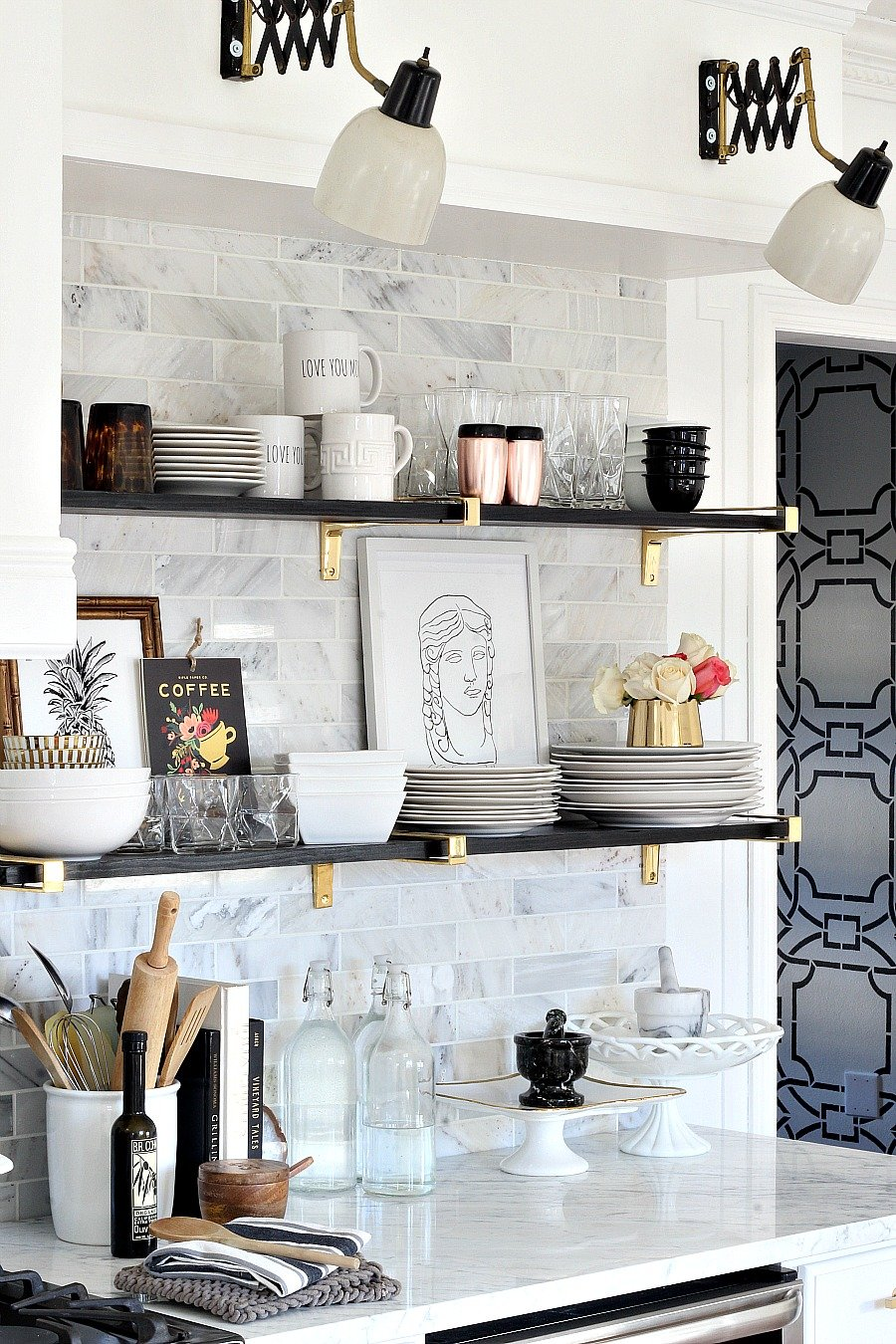 Open shelf ideas kitchen design network Floating shelf ideas for kitchen