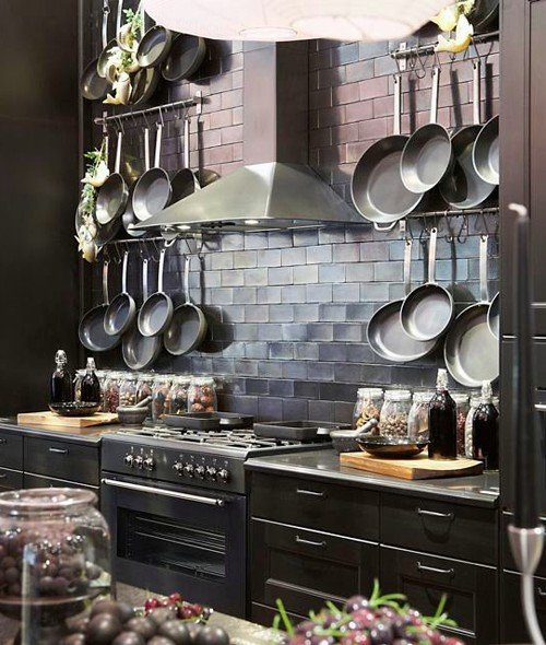 Wall Mounted Pot Racks In Rustic Modern Farmhouse Kitchen Courtesy Of  Pandashouse.com