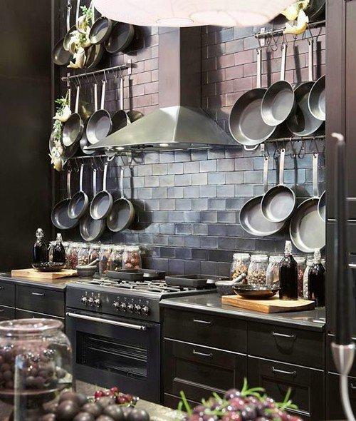 Wall mounted pot racks in Rustic modern farmhouse kitchen Courtesy of Pandashouse.com